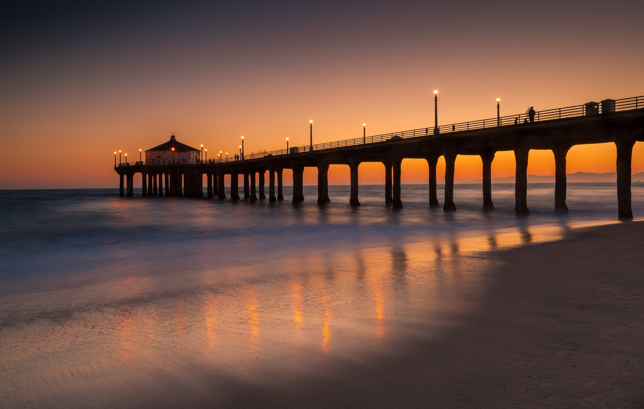 Manhattan Beach Wallpaper: Sunset Ocean Landscapes Beach Bridges Manhattan Sea