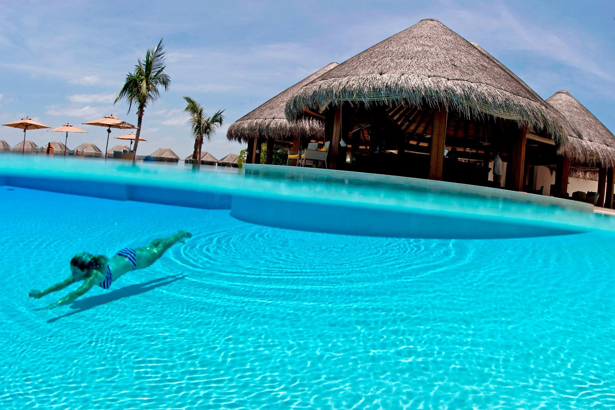 Clear blue azure swimming pool south polynesia wallpaper - How to make swimming pool water blue ...