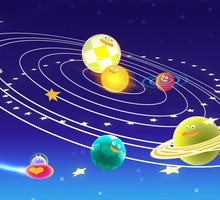 Funny space planets HD wallpaper