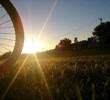 Sun bicycles grass HD wallpaper