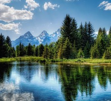 Mountains clouds landscapes nature forests lakes HD wallpaper