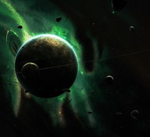 Asteroids green outer space planets rings HD wallpaper