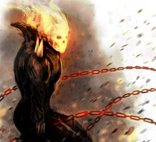 Comics fire ghost rider drawings chains traditional HD wallpaper