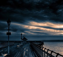 Clouds dock landscapes nature skyscapes HD wallpaper