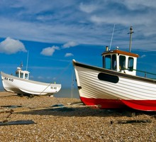 Beaches boats clouds flowers pebbles HD wallpaper