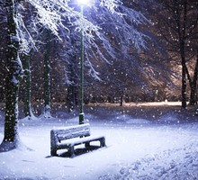 Light landscapes nature winter snow bench parks snowfall HD wallpaper