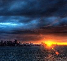 Sunset over frisco bay hdr HD wallpaper
