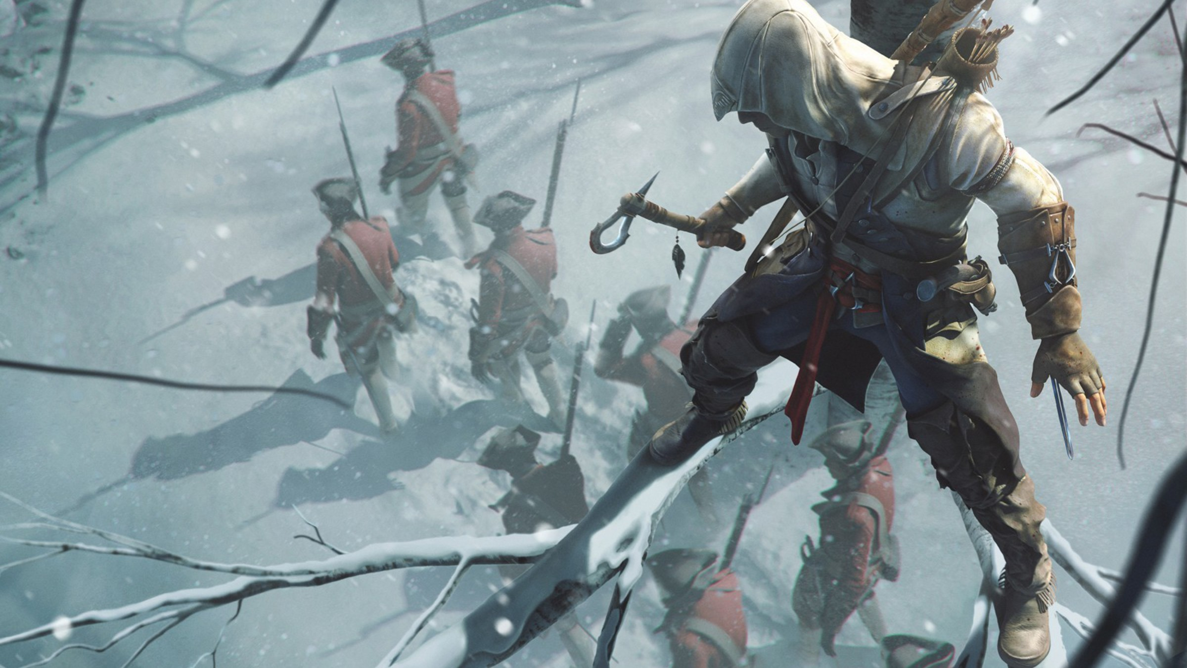 Tomahawk assassins creed 3 bow weapon connor wallpaper hd 169 2400x1350 2048x1152 voltagebd Choice Image