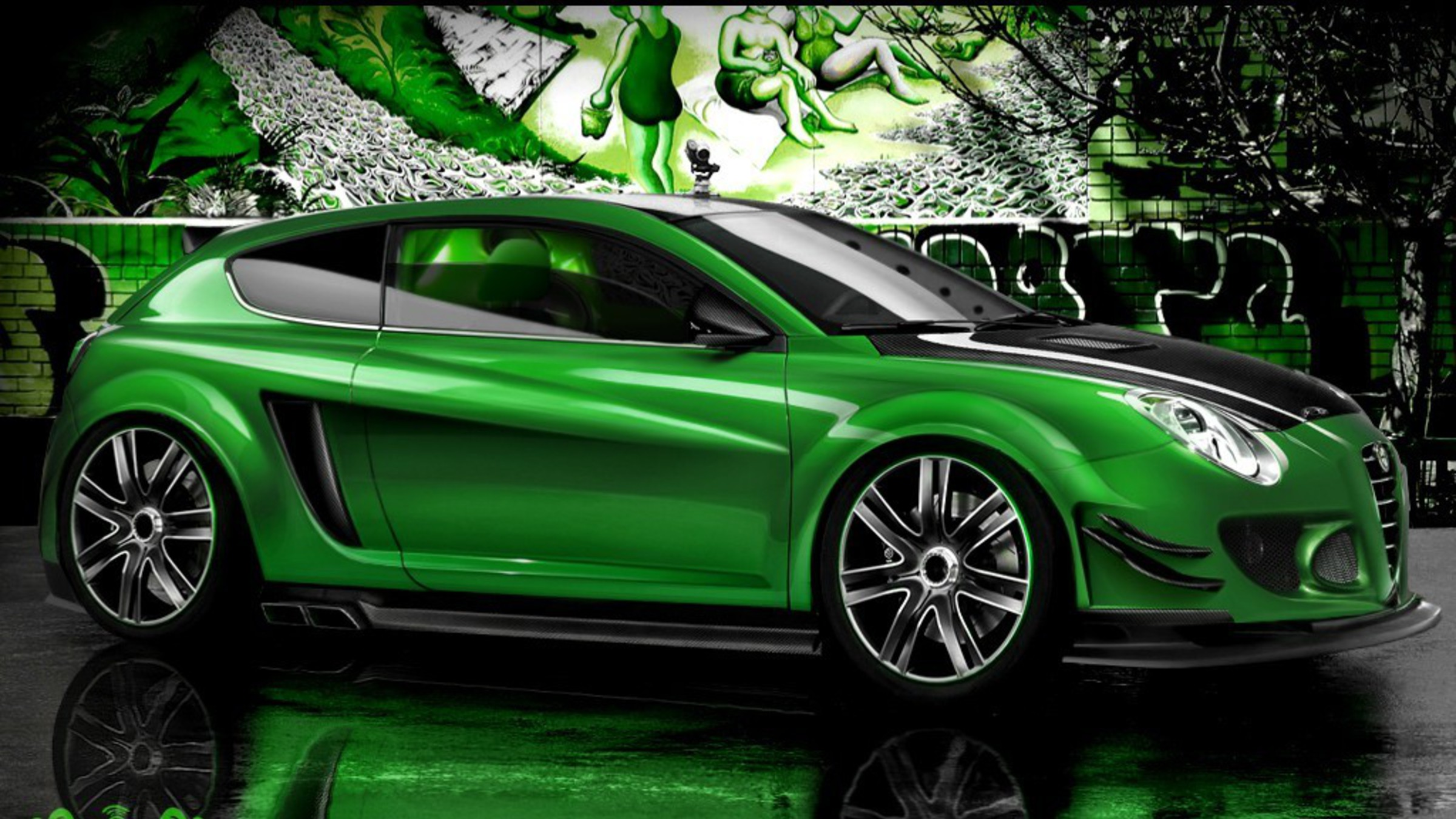 Green Cars Alfa Romeo Tuning 3d Wallpaper Allwallpaper In 14392