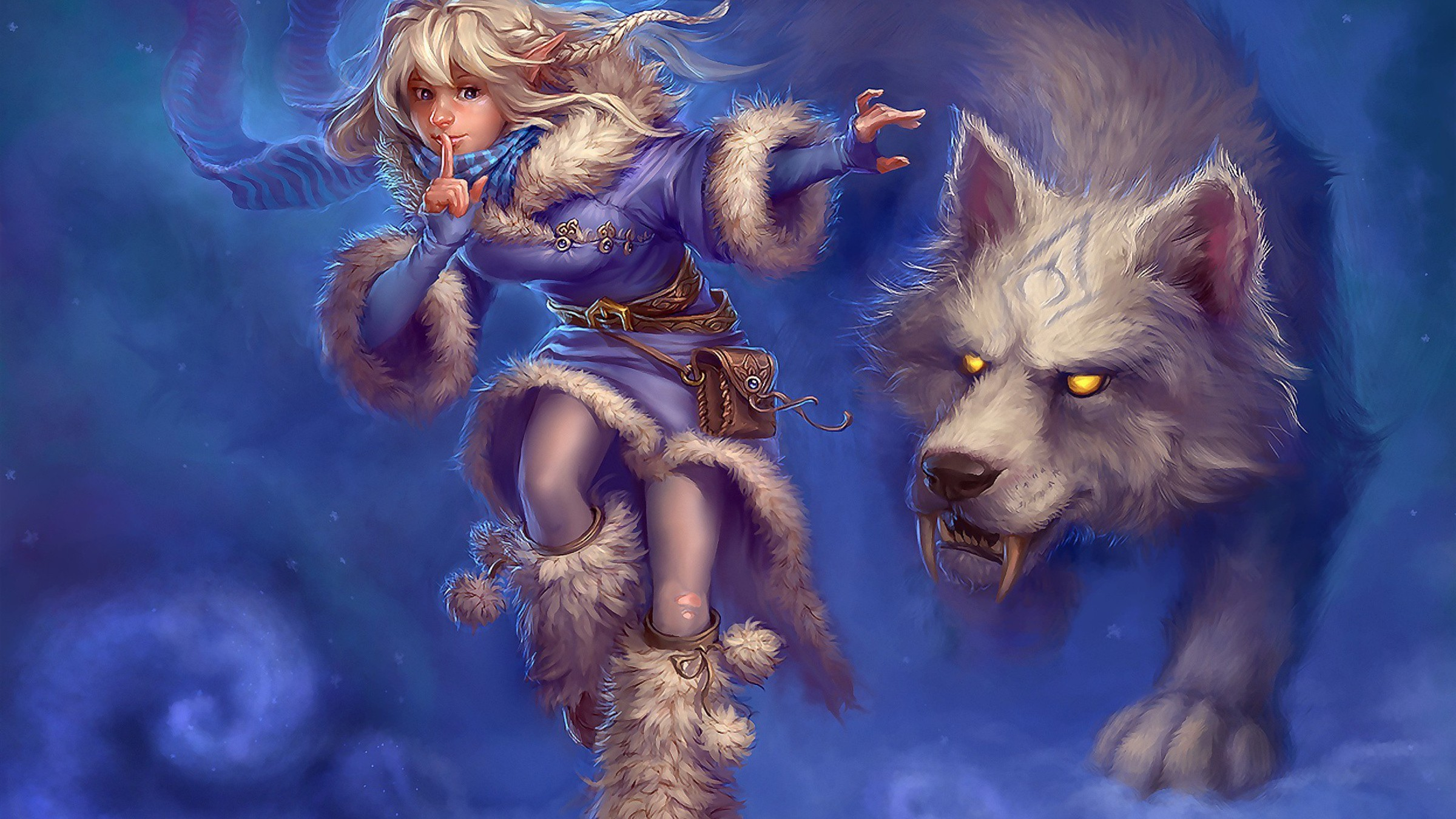 Artwork Blondes Magic Snow Wolves Wallpaper