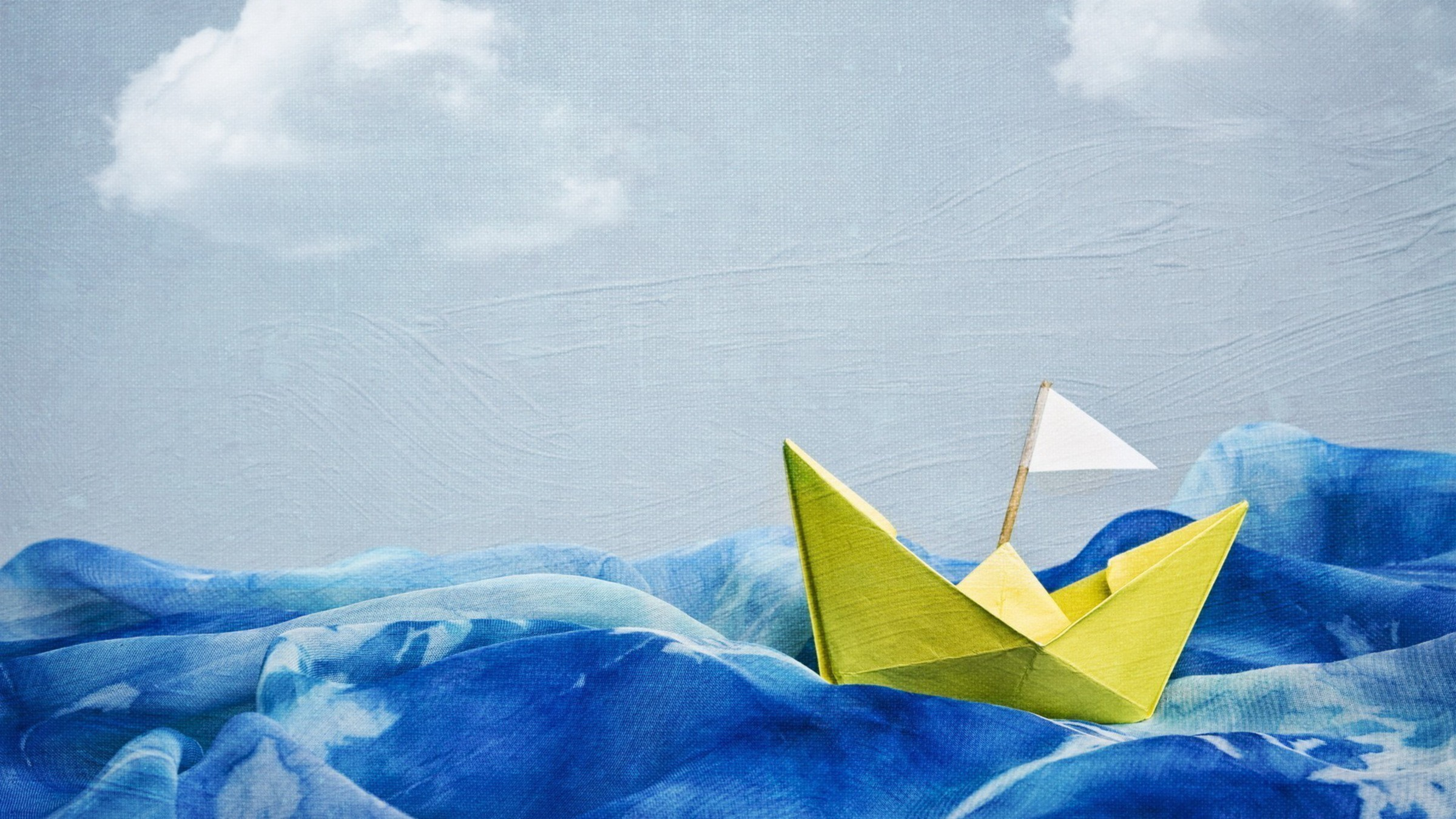 Artwork blue skies boats paintings paper boat wallpaper for Paper wallpaper