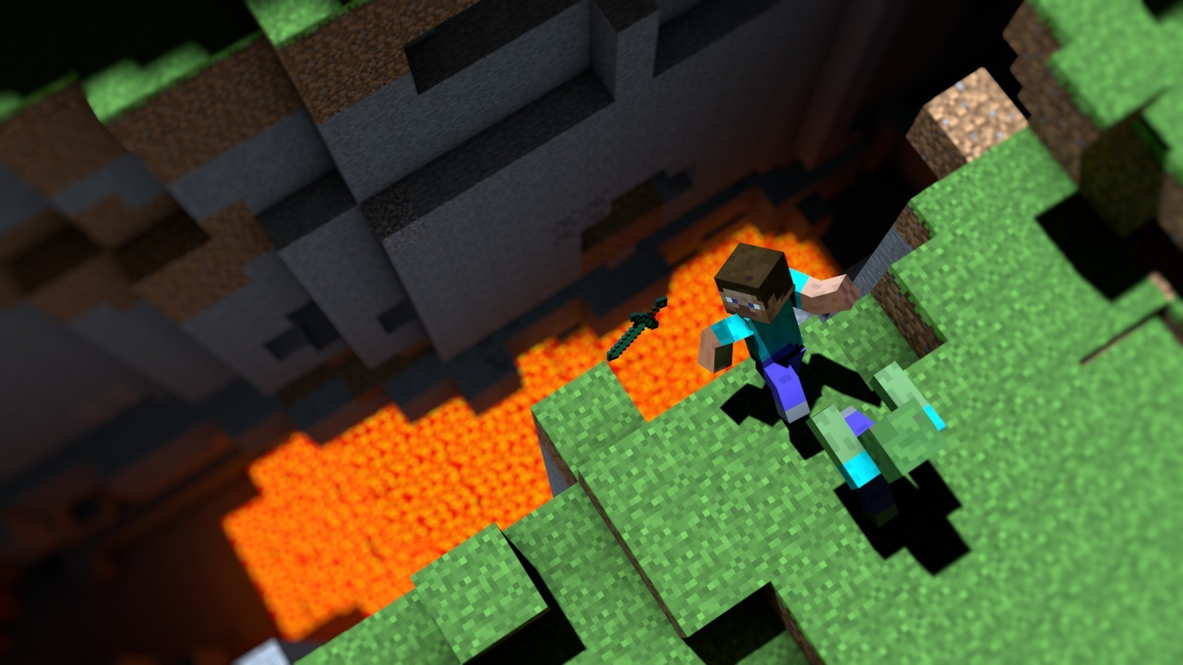 Minecraft Cliffs Lava Video Games Zombies Wallpaper AllWallpaper - Minecraft videospiele