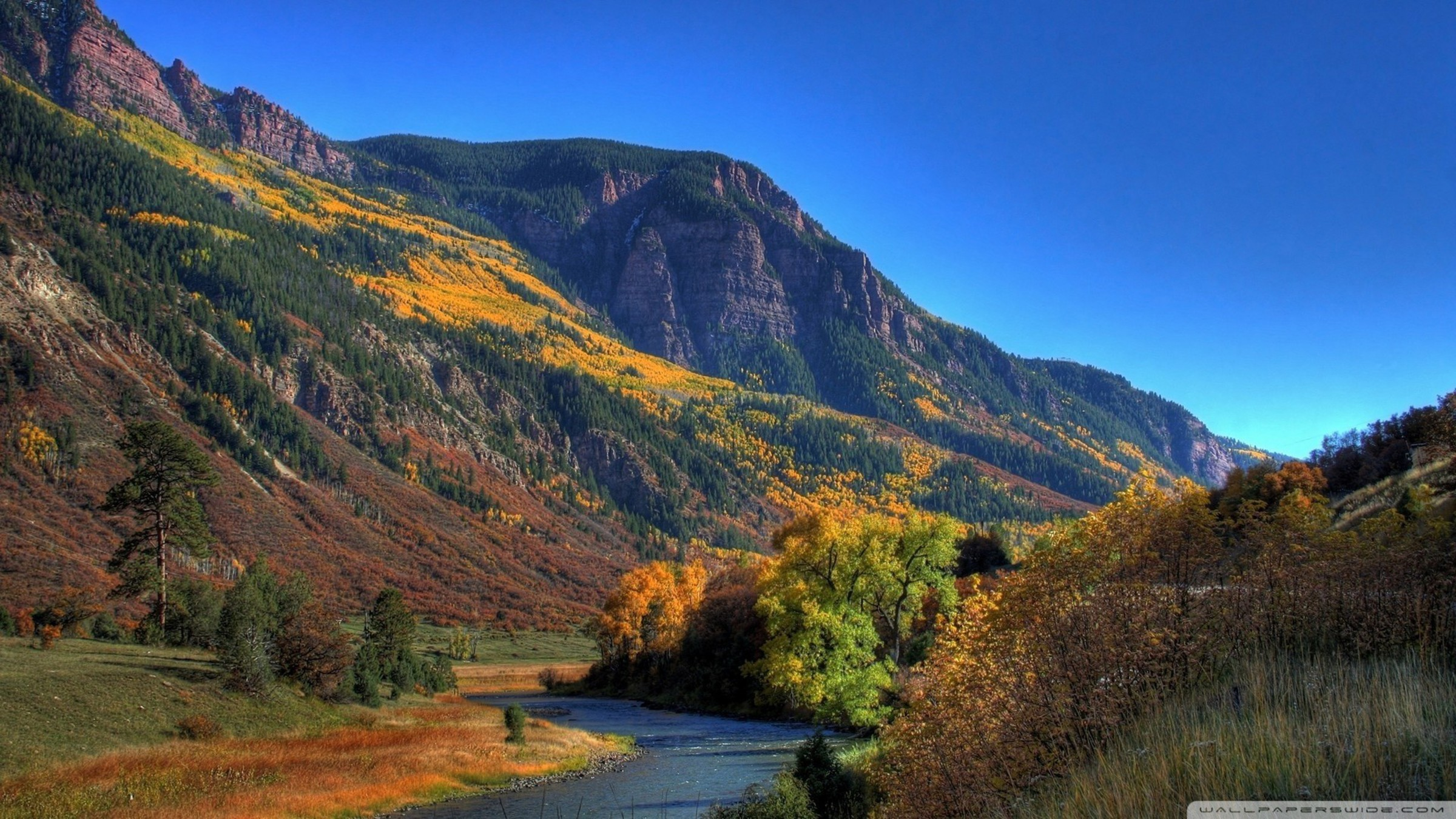 Autumn In A River Valley Wallpaper