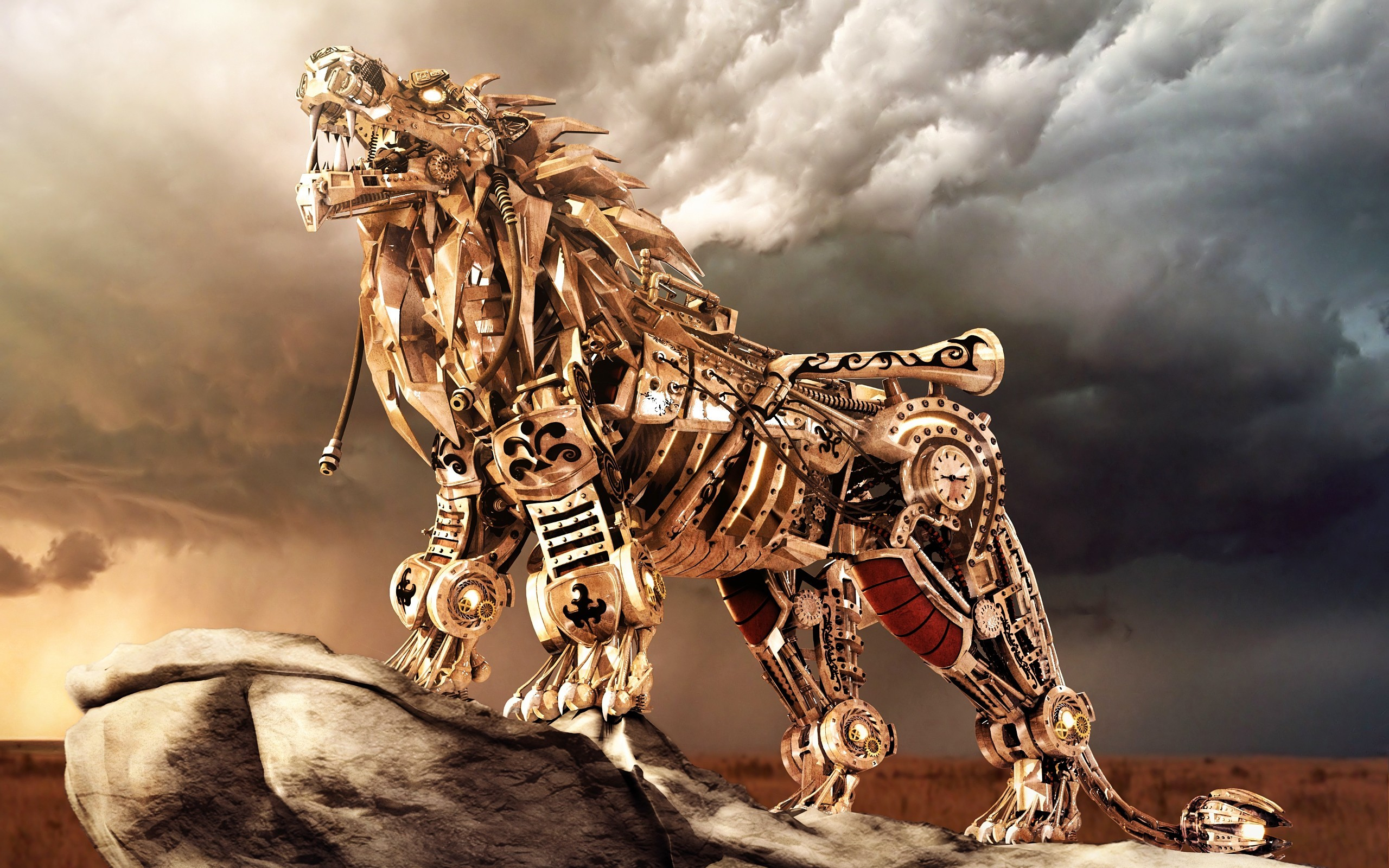 robots digital art lions mechanical creature wallpaper