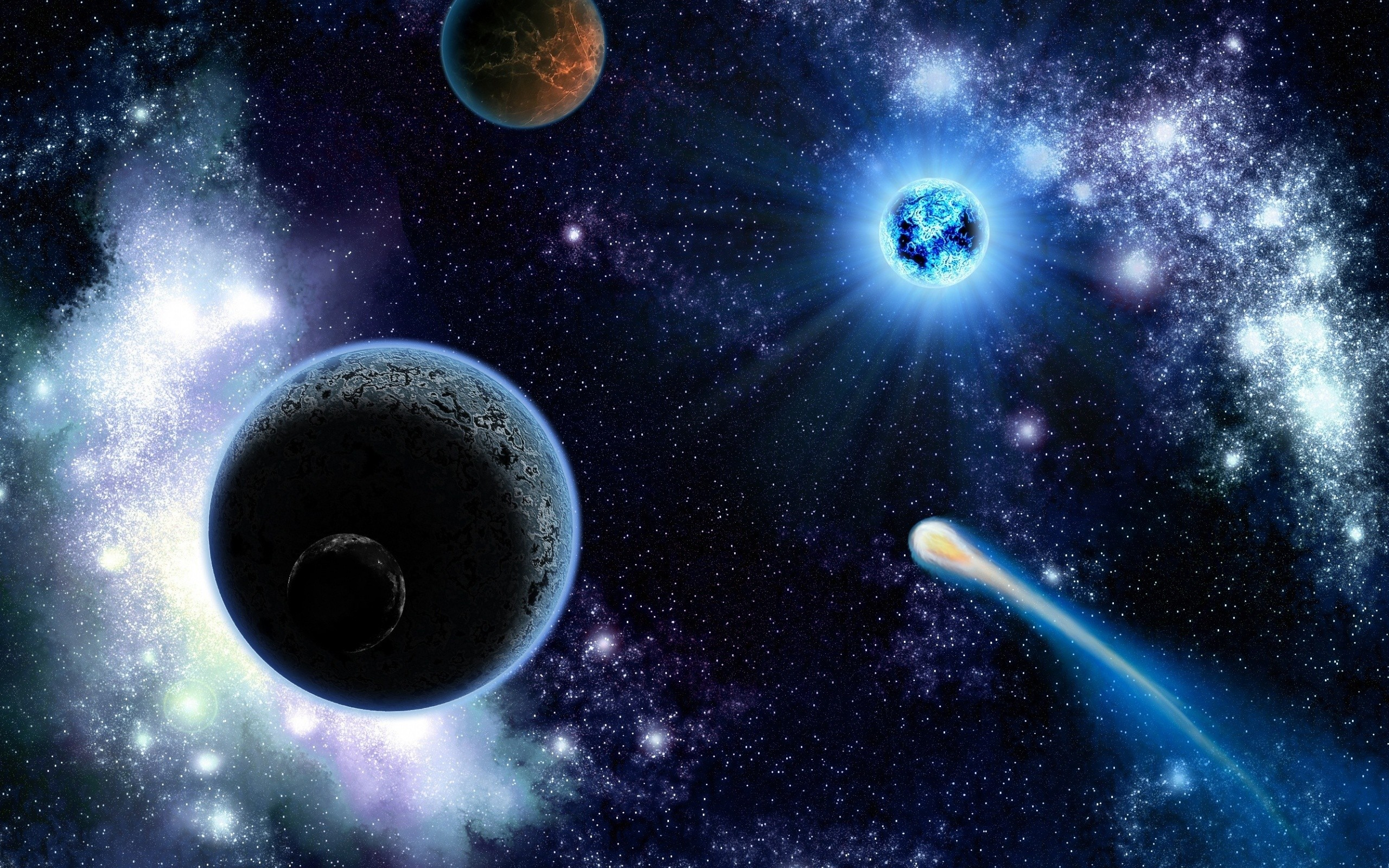 Planets And Stars Of Space Wallpaper