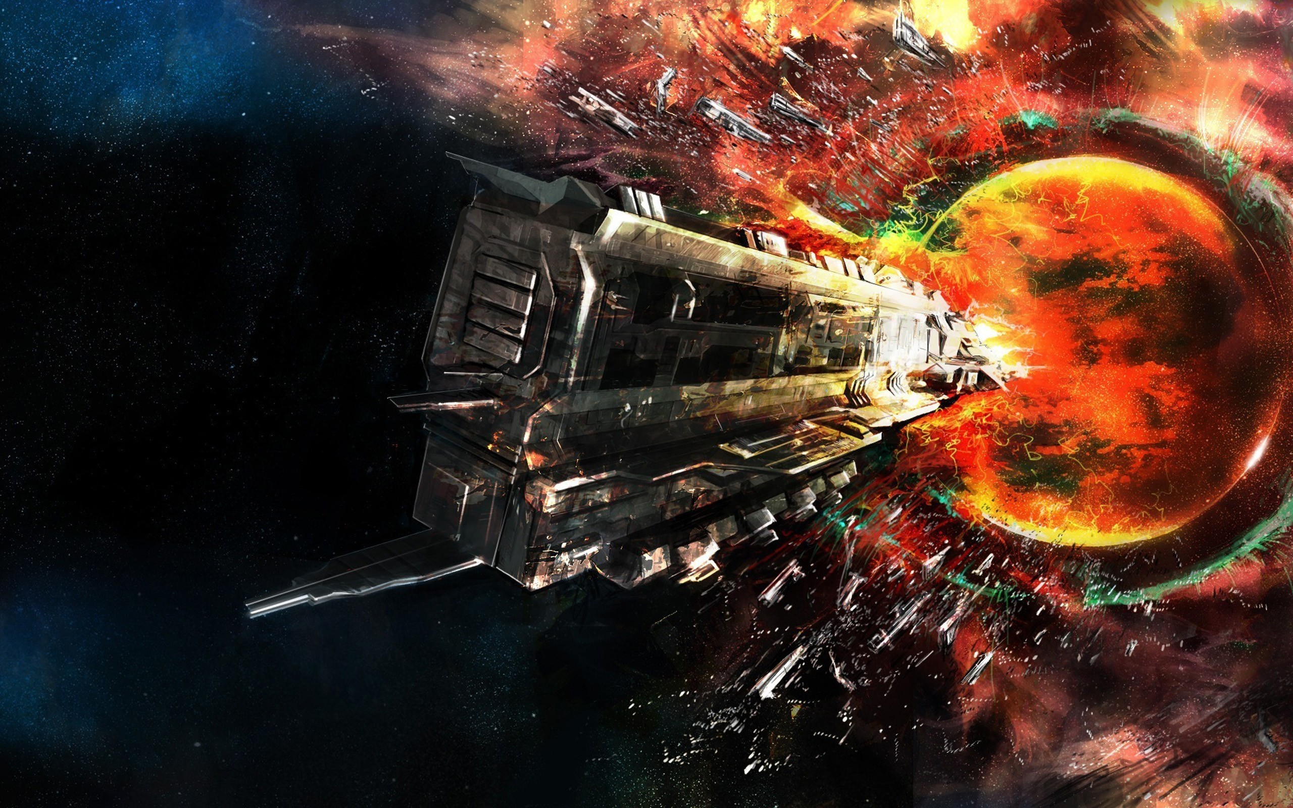 Outer Space Eve Online Fantasy Art Rokh Wallpaper