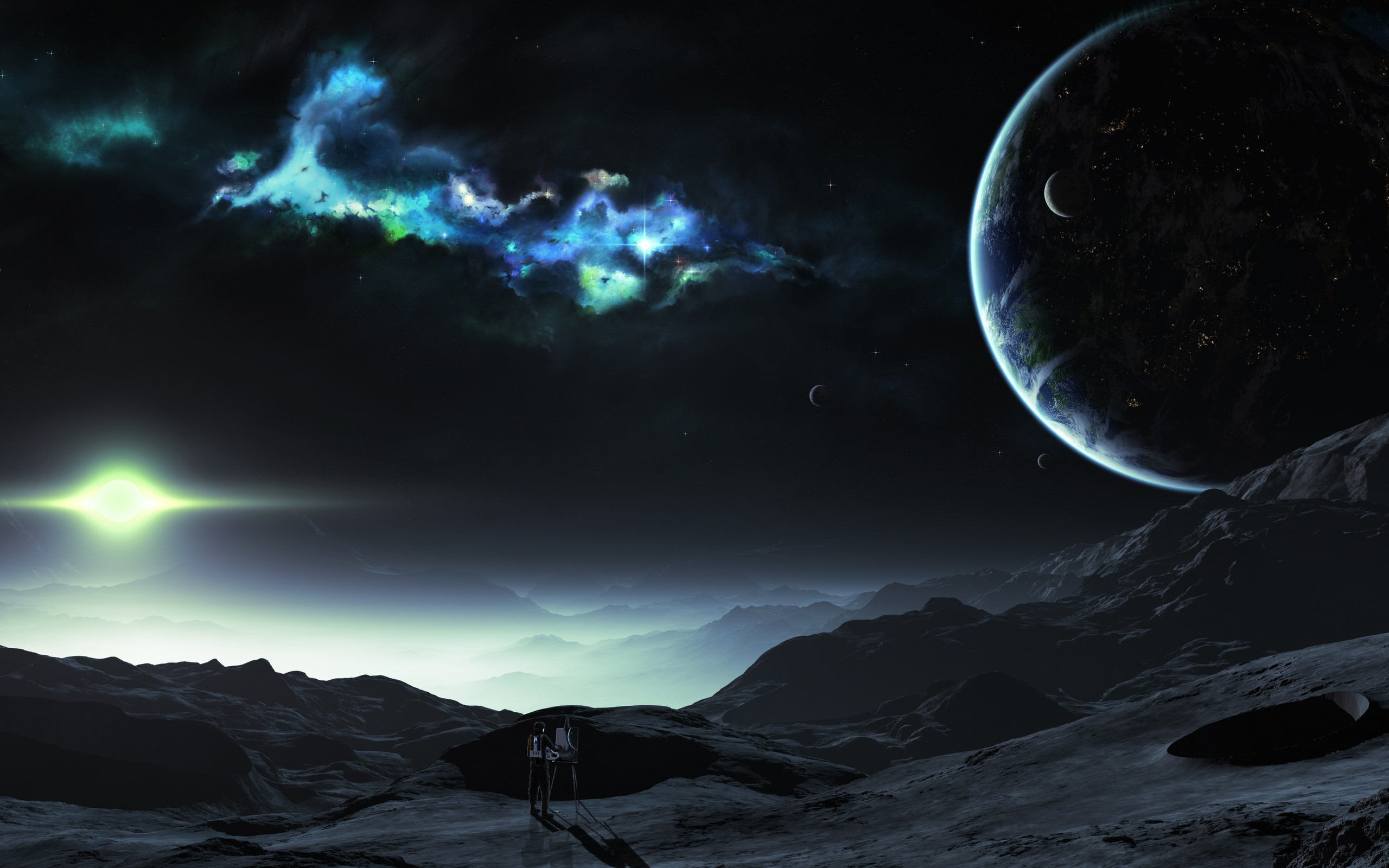 Tyler Young Artwork Outer Space Planets Wallpaper