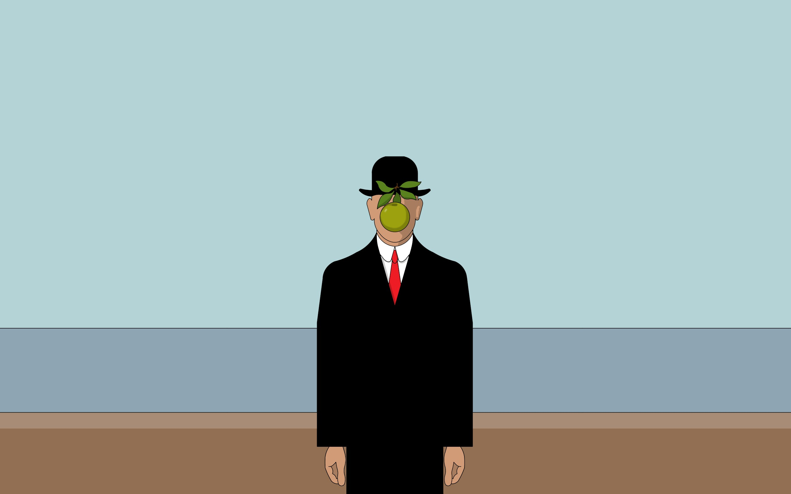 Rene magritte son of man apples green minimalistic for Tester son ecran pc
