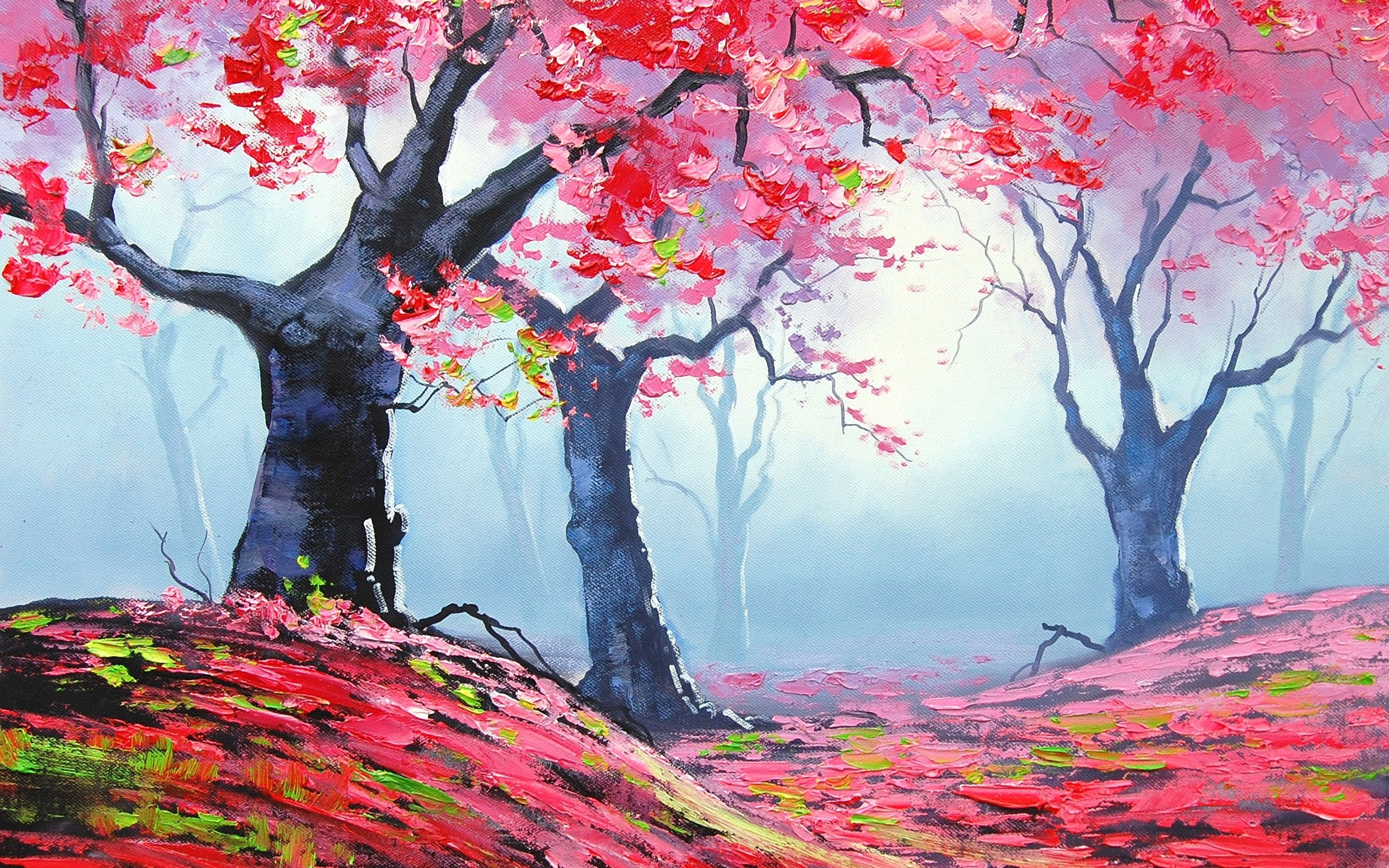 Trees Red Autumn Forest  AStoKo STOCK by AStoKo on