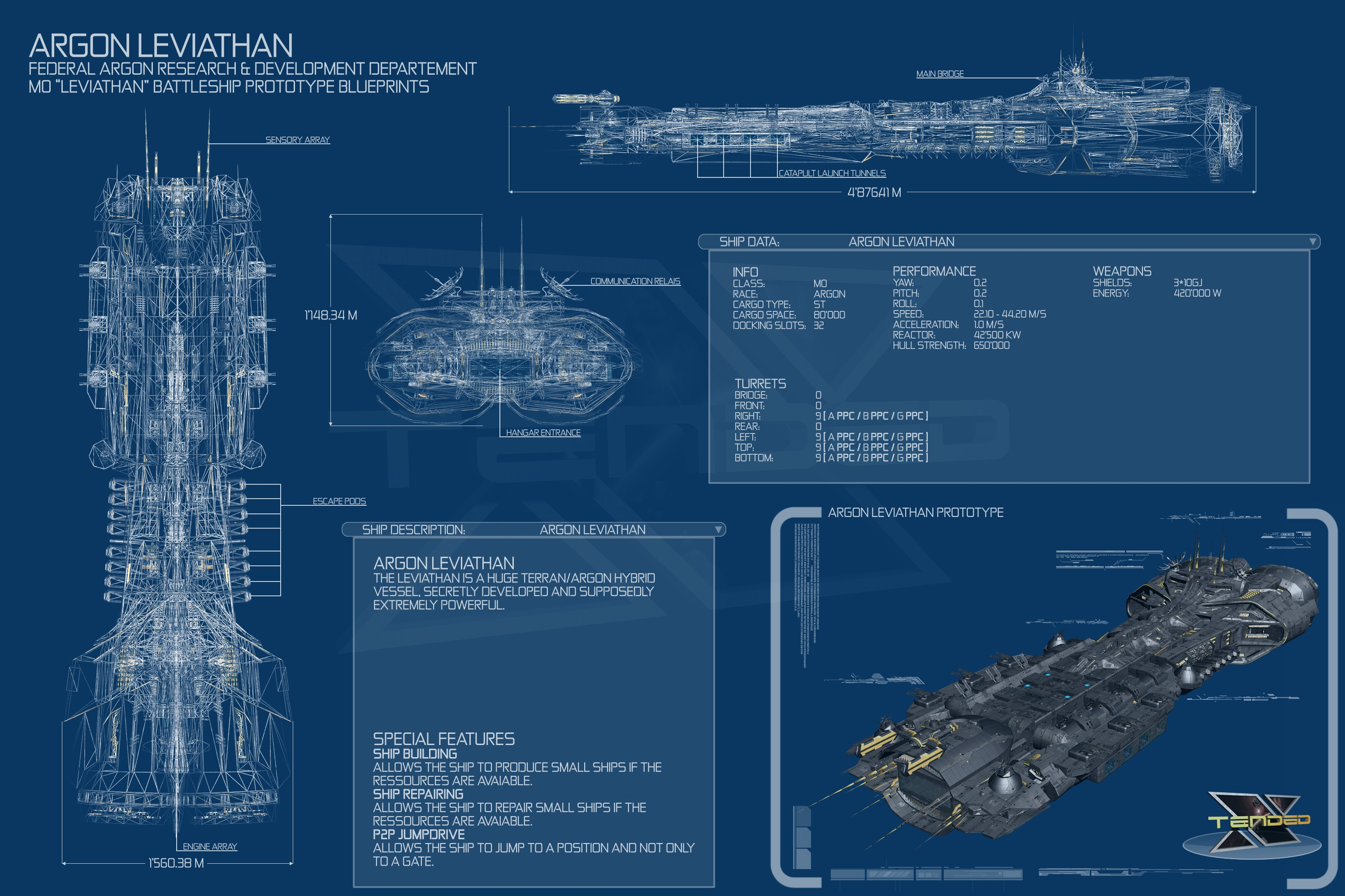Leviathan Blueprints Spaceships X3 Terran Conflict
