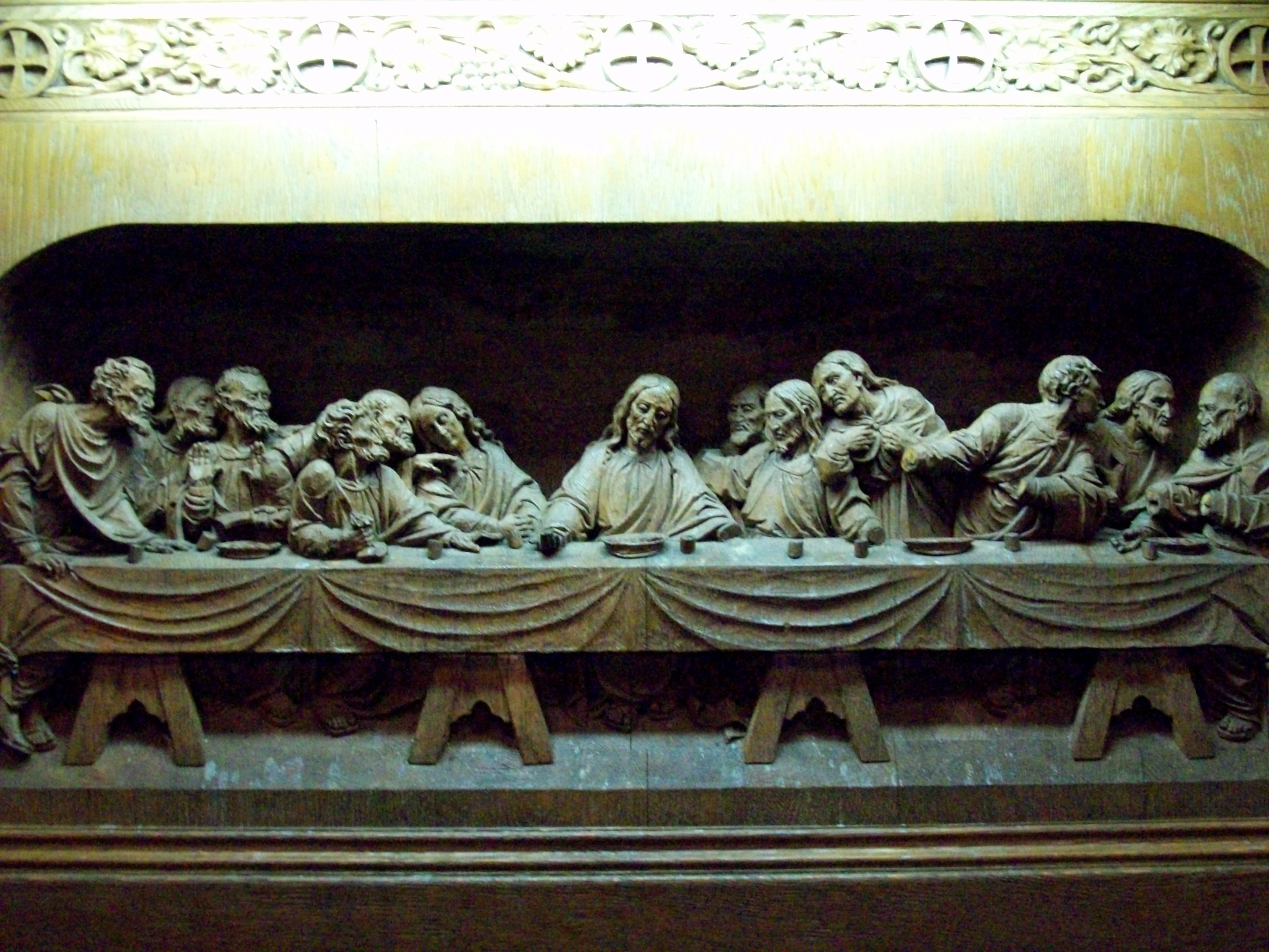 Rare african american hand carved wood last supper wall hanging