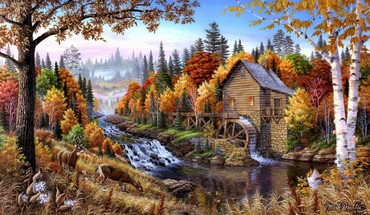 Artwork forests home oil painting paintings HD wallpaper
