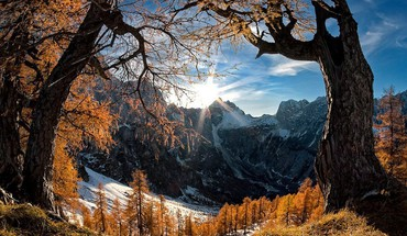 Mountains snow sun trees summer spring HD wallpaper