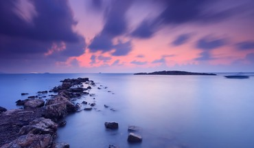 Water clouds landscapes rocks HD wallpaper
