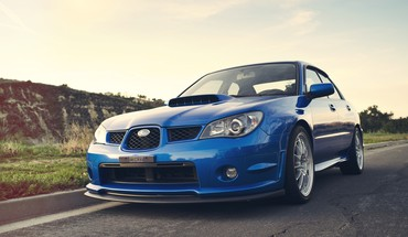 Cars roads subaru impreza wrx blue HD wallpaper
