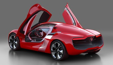 Cars red renault open doors dezir HD wallpaper