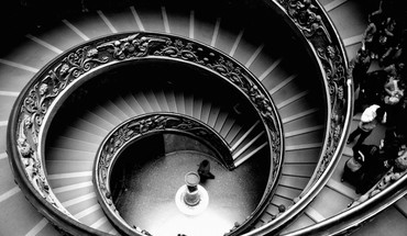 Architecture grayscale stairways HD wallpaper