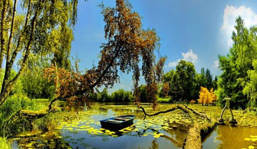 Small boat in pond HD wallpaper