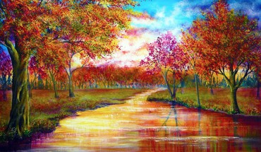 Trees september rivers vibrant colors HD wallpaper