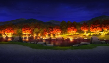 No canvas forests game cg lakes lights HD wallpaper