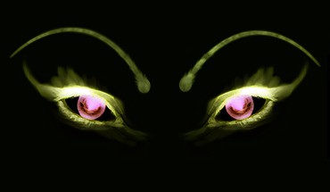 Black eyes green HD wallpaper