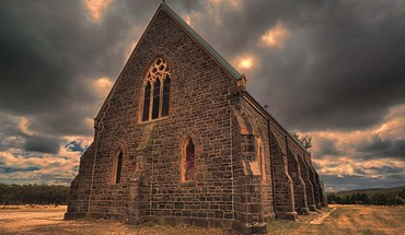 Clouds landscapes trees hills church hdr photography skies HD wallpaper