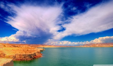 Wild skies over canyon lake HD wallpaper