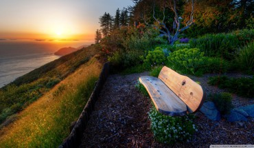 Bench by the sea at sunset hdr HD wallpaper