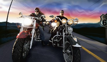 Bikers cartoons roads HD wallpaper