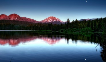 Mountains landscapes forest lakes reflections HD wallpaper