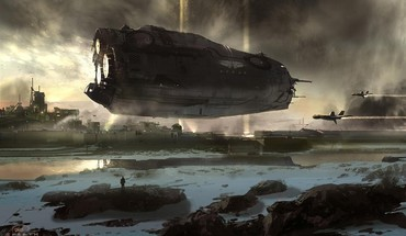 Landscapes futuristic spaceships digital art science fiction artwork HD wallpaper