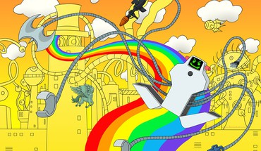 Robots chainsaw rainbows superjail axe jailbot HD wallpaper