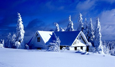 Paintings winter snow trees houses HD wallpaper