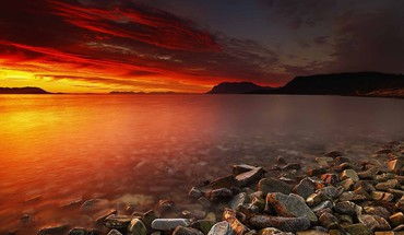 Hdr photography ocean rocks sunset HD wallpaper
