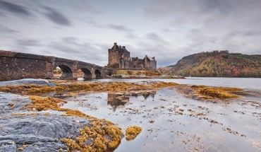 Water cold stones bridges castle arches vegetation HD wallpaper