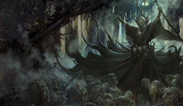 Necromancer artwork fantasy art forests undead HD wallpaper