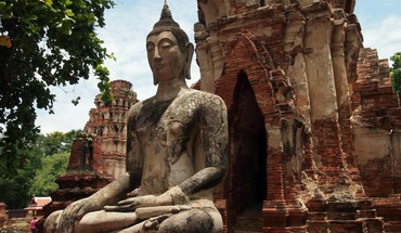 Landscapes trees ruins buddha buddhism thailand statues temple HD wallpaper
