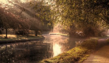 River in a park at morning mist HD wallpaper