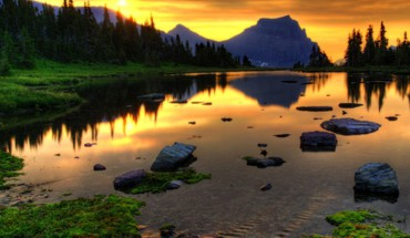 Sunset landscapes nature lakes reflections HD wallpaper
