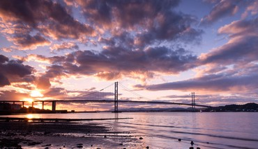 Clouds landscapes nature coast bridges scotland skies HD wallpaper